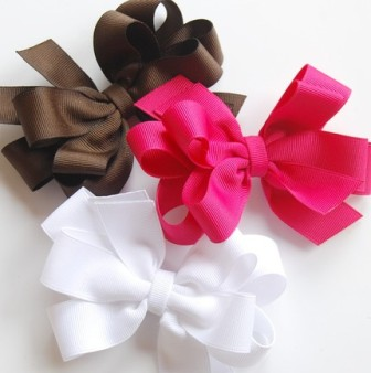 Posh & Trendy Hair Bow Set-brown, pink, white, boutique hair bows,
