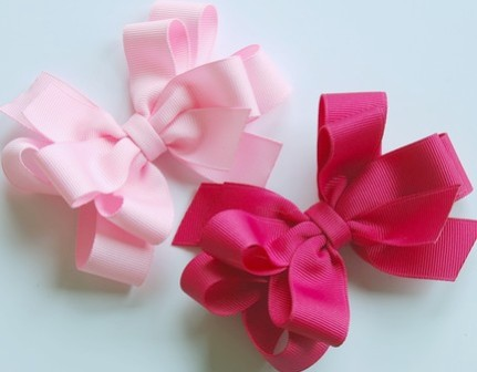 Just Pink Hair Bow Set-pink, boutique hair bows