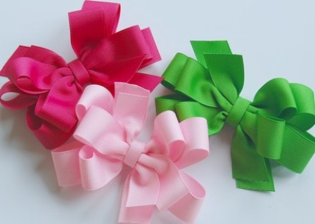 Pretty Pink & Green Hair Bow Set-boutique hair bows, bow set, pink, green