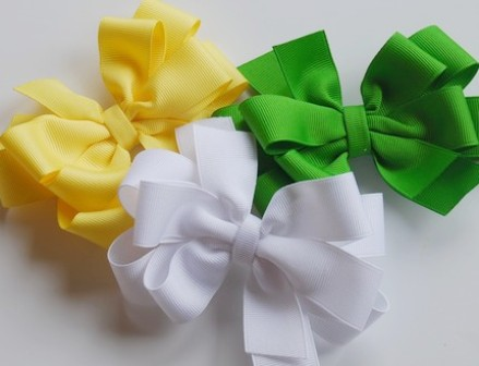 Simply Spring Hair Bow Set-YELLOW, APPLE GREEN AND WHITE, boutique hair bows