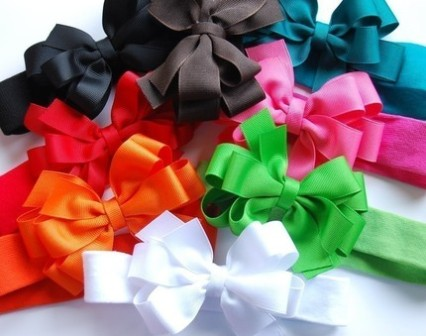 Boutique Brights Headband Hair Bow Set-black, red, orange, white, brown, teal, hot pink, apple green, infant, baby, headband, newborn, bow set