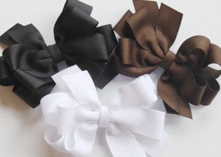 Fall Assortment Hair Bow Set-WHITE, BROWN AND BLACK boutique hair bows