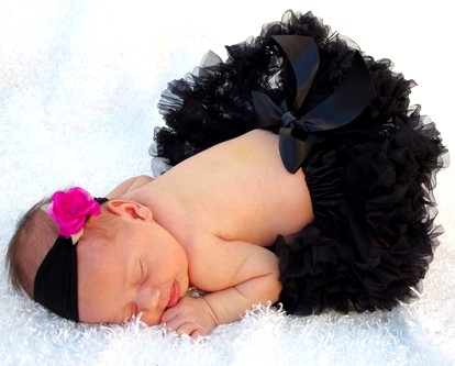 Small Fuchsia Pink & Black Nylon Flowerband-newborn