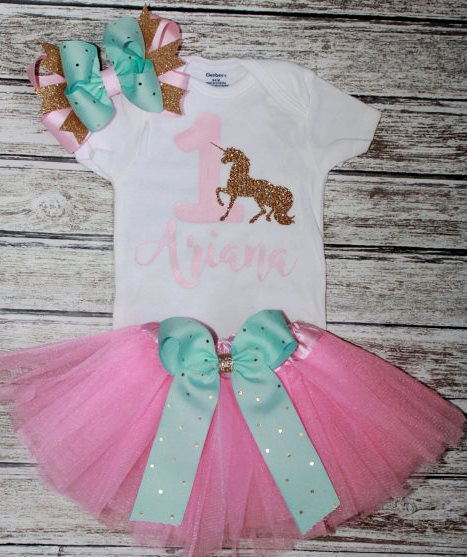 Girls First Birthday Mint, Pink & Gold Glitter Unicorn Tutu Outfit Set-Girls First Birthday Outfit, pink mint and Gold, Unicorn theme birthday, Baby Girls 1rst birthday, Cake Smash Set, Tutu, purple mint gold, first birthday, unicorn, glitter onesie, gold, mint, birthday party