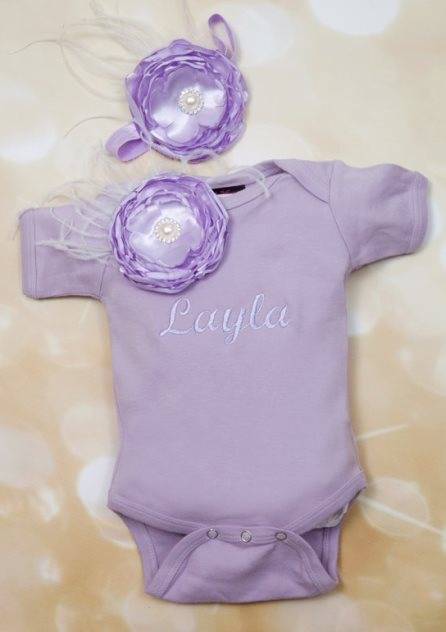 Lavender Embroidered Flower Infant Onesie with Matching Flower Headband-purple, onesie, lavender, outfit, clothing, infant, couture, flower, feathers, couture, personalized, newborn, take home, boutique