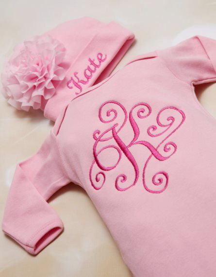 Pink Personalized Baby Girl Flower Gown Set & Matching Hat-personalized, infant, newborn, take home, take me home, hospital gown, baby girl, hot pink, pink, baby gown, flowers, embroidery