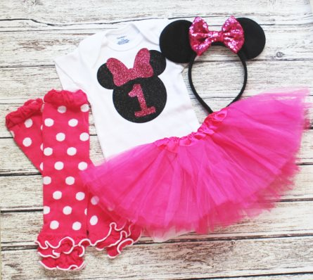 Hot Pink Baby Mouse First Birthday Glitter Tutu Outfit Set-Minnie Mouse First Birthday Tutu Set, 2nd birthday, cake smash, baby Girl 1rst birthday,Red Black, baby girl shirt, headband, tutu, first birthday party, minnie mouse, mickey mouse, disney