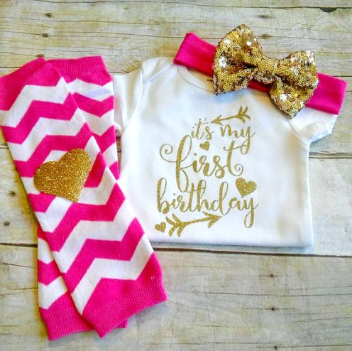 Hot Pink & Gold Sparkle 1st Birthday Outfit Set-1st Birthday Bodysuit, Headband, and Leg Warmers, Pink Chevron, Hot Pink and Gold, Gold Glitter, Cake Smash, First Birthday, Arrow Tribal, first birthday, outfit, birthday party, gold glitter onesie, glitter birthday onesie, chevron, heart