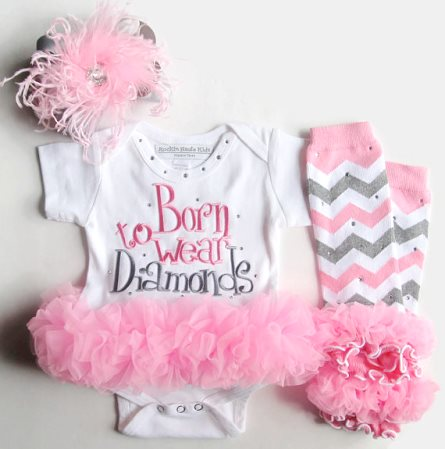 Born to Wear Diamonds Pink & Gray 3pc. Outfit Set with Hair Bow & Leg Warmers-pink, gray, grey, newborn, infant, baby, girl, boutique, clothing, outfit, set, chevron, bling, couture, hospital, take home