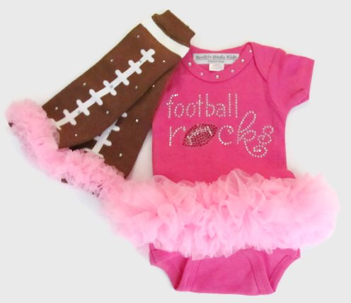 Hot Pink Football Rocks Tutu Onesie & Matching Bling Leg Warmers Outfit Set-bling, rhinestone, tutu onesie, hot pink, football, sports, outfit, set, leggings, brown, ruffle, matching set