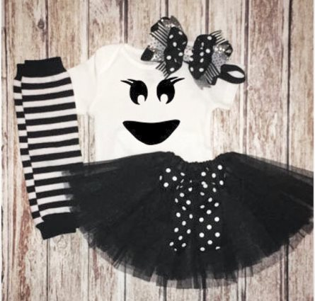 Baby Girls Ghost Halloween Costume Tutu Outfit Set-black, white, halloween, costume, ghost, infant, baby, girl, tutu, outfit