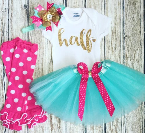 Baby Girls Hot Pink & Mint Gold Glitter 1/2 Birthday Tutu Outfit Set-Baby Girl 1/2 Birthday Outfit, Cake Smash, Hot Pink Gold Mint Tutu Set, Half Birthday, 6 Months photo shoot, 1/2 birthday girl, mint pink, 1/2 birthday, half birthday