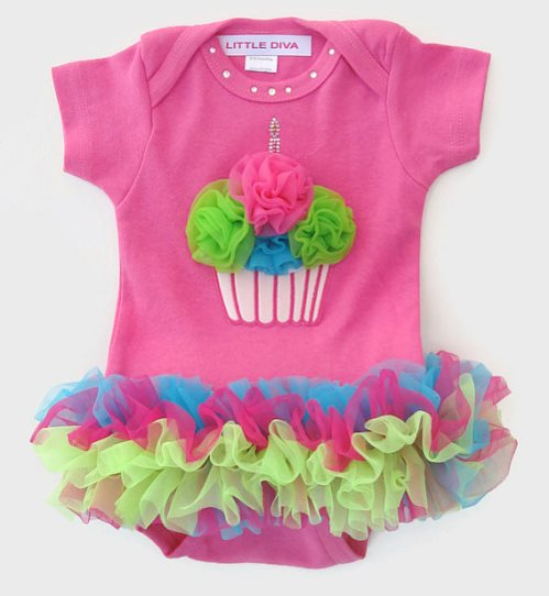 Colorful Birthday Cupcake Tutu Onesie-hot pink, lime, green, turquoise, bodysuit, birthday, outfit, cupcake