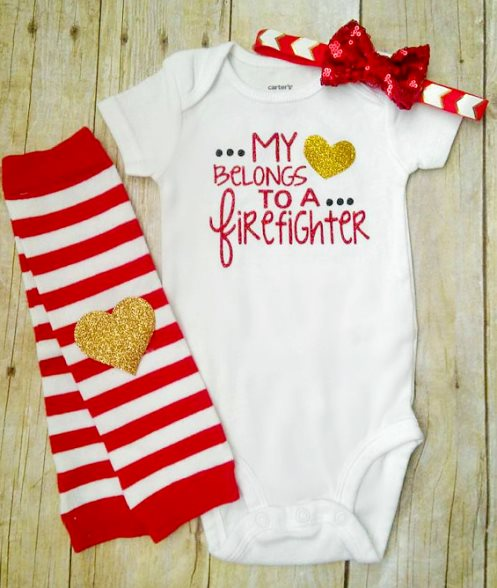 My Heart Belongs To A Firefighter Red Glitter Outfit Set-My Heart Belongs To A Firefighter, Daddy Is My Hero, Mommy Is My Hero, Bodysuit, Leg Warmers, Headband, Glitter Bodysuit, chevron, red, gold, outfit, set, daddys girl, newborn, sequin