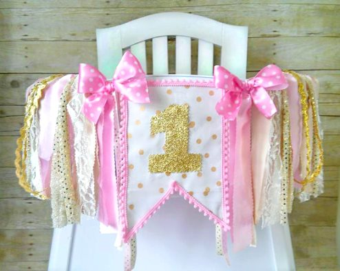 Gold Polka Dot First Birthday Party High Chair Banner-Pink and Gold High Chair Banner, High Chair Tutu, Pink and Gold Birthday, 1st Birthday, Wall Garland Banner, pink and gold banner, high chair tutu, high chair banner, ribbons, ribbon banner, hot pink, gold, glitter