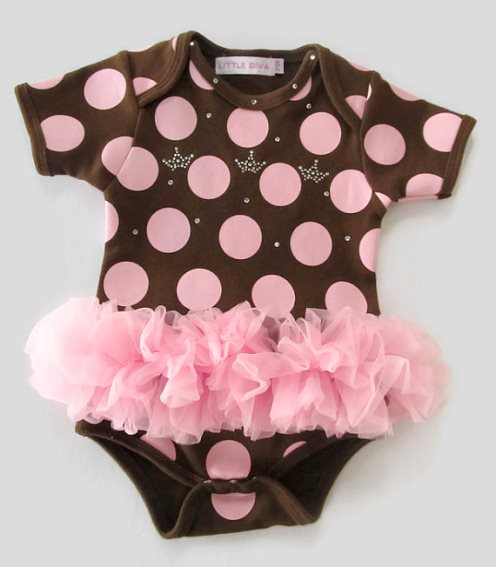 Brown & Pink Polka Dot Bling Crown Princess Tutu Onesie-rhinestones, bodysuit, pink, brown, boutique, clothing, infant, baby, girl, outfit, set