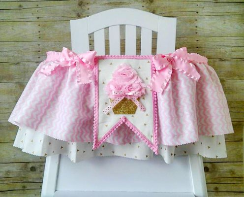 Pink Cupcake First Birthday Party High Chair Banner-High Chair Tutu, Fabric High Chair Tutu, Ruffled High Chair Tutu, High Chair Banner, Pink and Gold Cupcake, Great For 1st Birthday Parties, cupcake 1st birthday, cupcake, pink cupcake banner, high chair banner