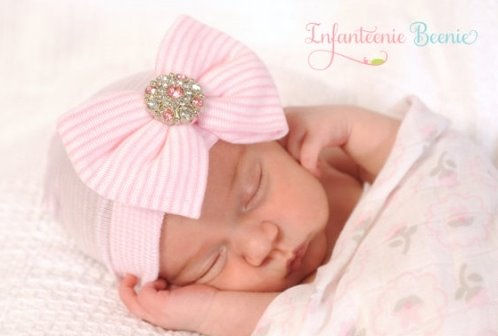 Pink & White Striped Bling Bow Newborn Boutique Hospital Hat-infanteenie beenie, hospital hat, infant, baby, girl, newborn, hat, boutique, bling, rhinestone, bow hat, hospital, pink