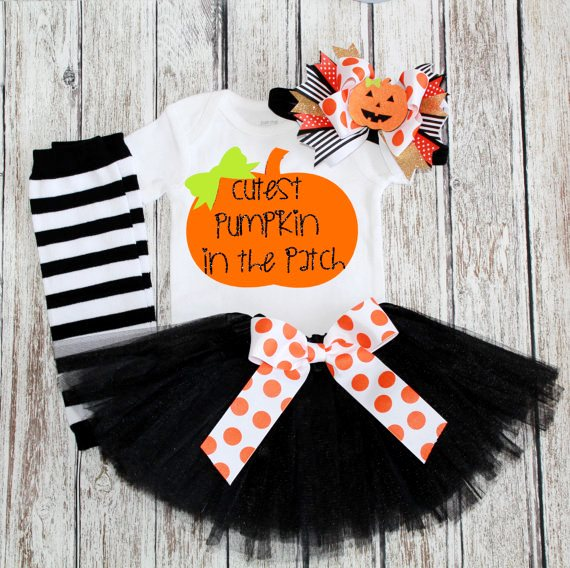 Cutest Pumpkin in the Patch Halloween Tutu Outfit Set-leg warmers, pumpkin, costume, halloween, orange, black, headband, tutu, glitter, onesie, infant, baby, girl outfit, boutique, clothing