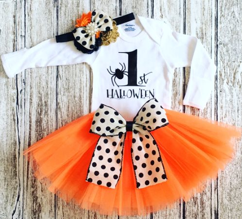 My First Halloween Tutu Costume Outfit Set-spider, My First Halloween Costume, First Halloween girl, Baby girl Costume, spider baby outfit, newborn costume, orange black, orange tutu,  bow, polka dots