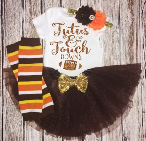 Tutus & Touchdowns Glitter Football Thanksgiving Tutu Outfit Set-brown tutu, thanksgiving outfit, infant, baby, girl, glitter onesie, sports, football, football outfit, sparkle onesie, outfit, set,Tutus and Touchdowns Football Thanksgiving, Baby Girl First Turkey Day girl, Orange Brown Yellow Turkey, Football tutu