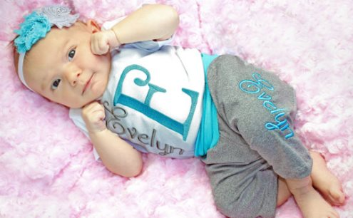 Personalized Yoga Pants & Matching Onesie with Headband Outfit Set-Personalized Baby Clothes, Baby Girl Outfit, Personlized, Baby Girl Leggings, Newborn Girl, Coming Home Outfit, Personalized Newborn Baby Gift, turquoise, grey, gray, outfit , set