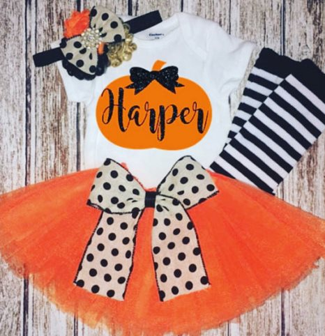 Personalized Pumpkin Onesie Halloween Tutu Outfit Set-Personalized Pumkin Shirt, Black orange tutu, pumpkin halloween costume, baby tutu set , pumkin hair bow,pumkin patch, black white stripe, baby girl costume, pumpkin, halloween, personalized