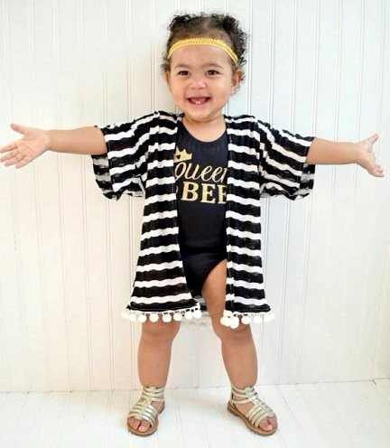 Black & White Striped Baby Girl Kimono-cardigan, kimono, baby, girl, trendy, infant, sass, pom pom, black, stripes, striped, halloween, fall