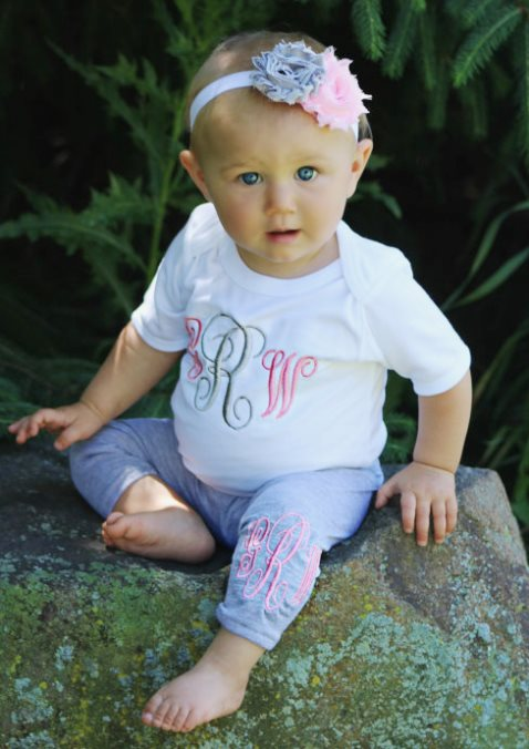 Pink & Grey Monogrammed Bodysuit & Leggings Outfit Set with Matching Headband-Baby Leggings, Monogram Baby Girl Clothes, Newborn Girl, Toddler Girl Outfit, Monogram Leggings, Newborn Girl, Coming Home Outfit, Baby Gift, pink, gray, grey, outfit, baby outfit, personalized, yoga pants