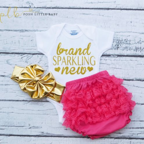 Brand Sparkling New Gold Glitter Onesie Shirt-gold, newborn, glitter, sparkle, onesie, newborn, infant, baby, girl, baby girls