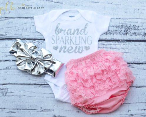 Brand Sparkling New Silver Glitter Onesie Shirt-silver, sparkle, glitter, onesie, shirt, tee, newborn, infant, baby, girl, hearts