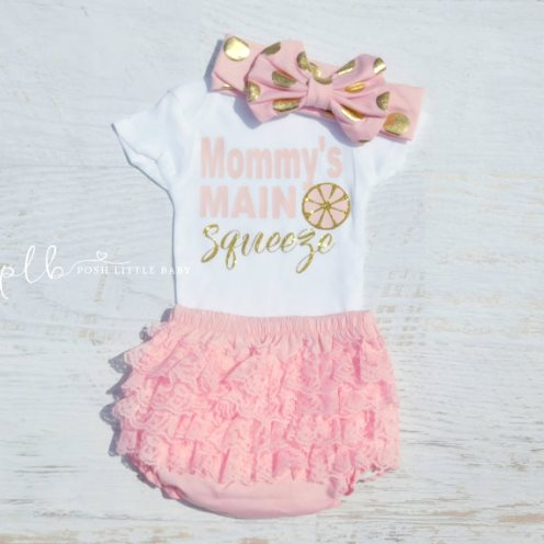 Mommys Main Squeeze Baby Onesie Bodysuit-gold and pink, gold, pink, lemonade, summer, outfit, summertime, infant, baby, girl,