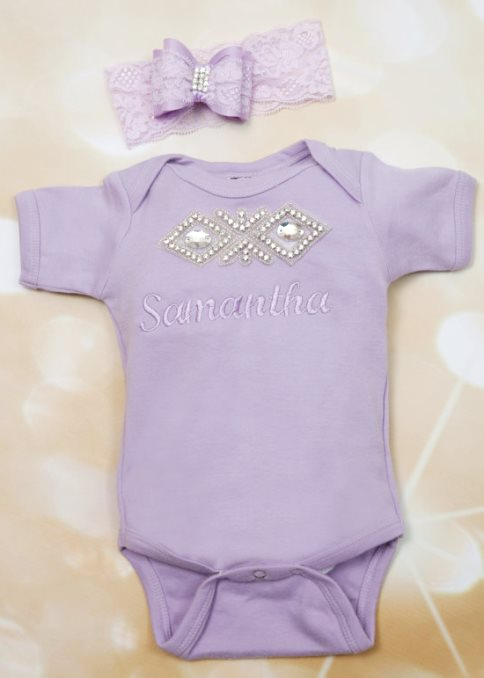 Personalized Lavender Rhinestone Onesie with Matching Lace Headband-Personalized, Baby Girl, One Piece Set, Embroidered, Infant, Short Sleeve One Piece Set, Rhinestone Applique, Lace Headband, lavender onesie, newborn outfit