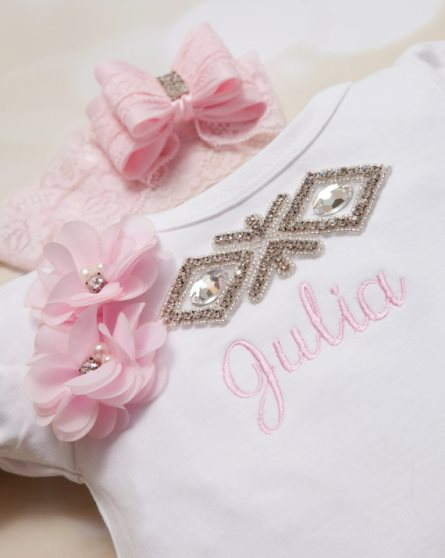 Personalized Infant Baby Girl Bubble Romper & Matching Lace Headband Set-newborn, infant, baby, girl, boutique clothing, lace, light pink, pink, couture, rhinestone, bling, outfit