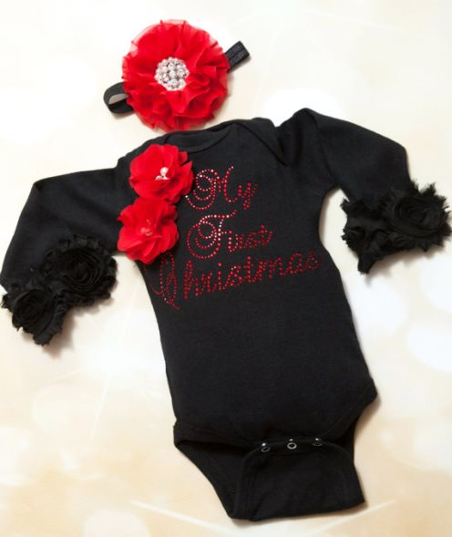 Black Rhinestone My First Christmas Onesie & Matching Flower Headband-Holiday, Black, Baby ,Girl ,One Piece, Set, Infant, One Piece Set, Holiday Set, My First Christmas,Matching Headband