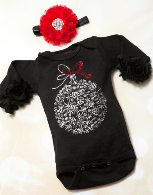 Black Rhinestone Ornament Holiday Onesie & Matching Flower Headband-black, red, christmas outfit, newborn, infant, baby, girl, boutique christmas, rhinestone, ornament, onesie