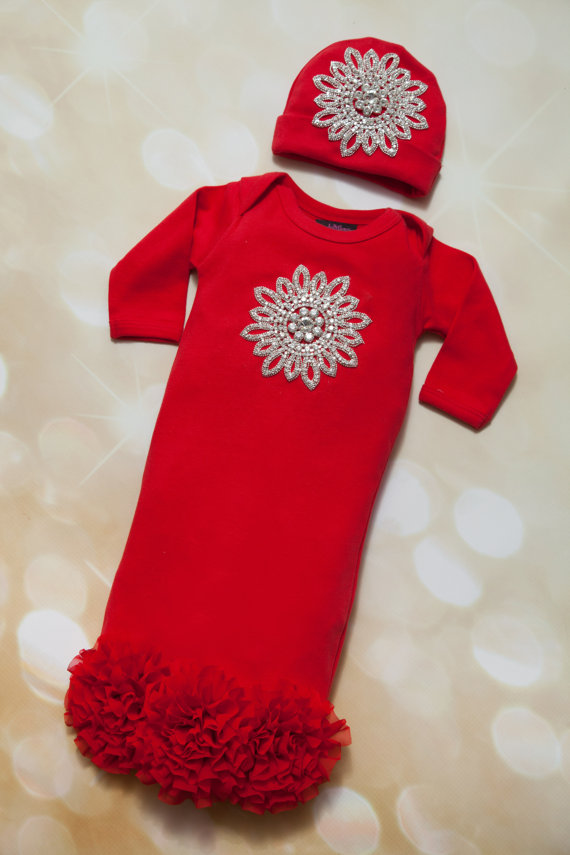 Red Infant Baby Gown with Chiffon & Large Rhinestone Applique-Infant, Baby, Layette, Red, Cotton, Baby Gown,  Chiffon, Rhinestone Applique, christmas, red gown, holiday, outfit, set