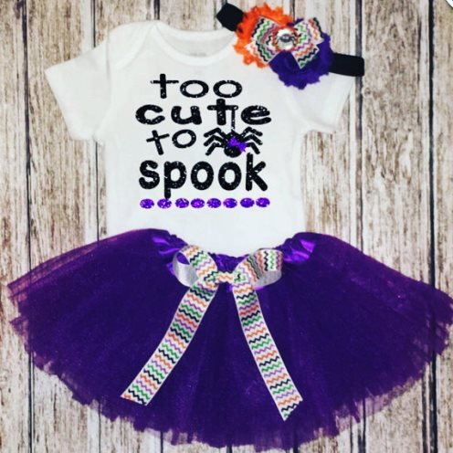 Too Cute to Spook Spider Halloween Tutu Outfit Set-halloweeen, costume, infant, baby, girl, boutique, clothing, spider, purple, orange, black