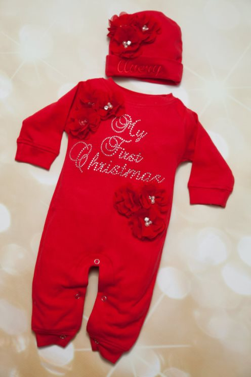 Red Rhinestone My First Christmas Romper & Matching Personalized Hat-red, rhinestone, bling, babys first christmas, holiday, infant, baby, newborn, girl, romper, outfit, personalized, hat, flowers,Red, Baby Girl Romper Set, Infant, My First Christmas Set, Holiday, Matching, Personalized Hat