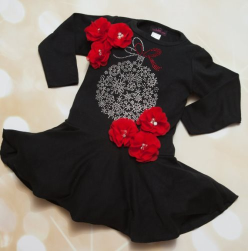 Black & Red Rhinestone Ornament Holiday Toddler Christmas Dress-Christmas, Black, Toddler, Girl, Dress Cotton, Black Holiday Dress, Chiffon, Rhinestones, holiday dress
