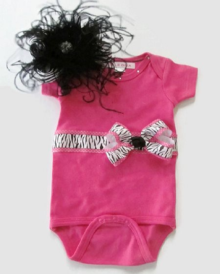 Hot Pink & Zebra Ribbon Onesie With Matching Hairbow Outfit Set-hot pink, black, animal, print, zebra, ribbon onesie, over the top, hairbow, feathers, bow, hair bow, outfit, set, boutique
