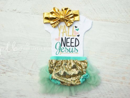 Yall Need Jesus Baby Onesie Bodysuit-yall need jesus, onesie, glitter, gold, teal, newborn, outfit, glam, boutique, outfit, set