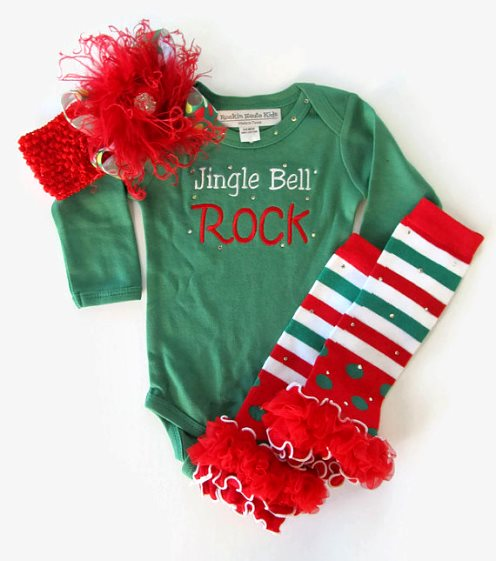 Jingle Bell Rock Baby Girls Onesie 3pc. Outfit Set-red and green, jingle bells outfit, christmas outfit, over the top christmas, bling onesie, holiday set
