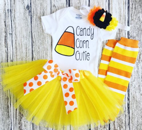 Candy Corn Cutie Halloween Tutu Outfit Set-yellow, orange, candy corn, costume, halloween, Candy corn tutu set, Babys first halloween costume, Candy corn costume set, candy corn cutie tutu set, candy corn headband, halloween bow, outfit, clothing, tutu set