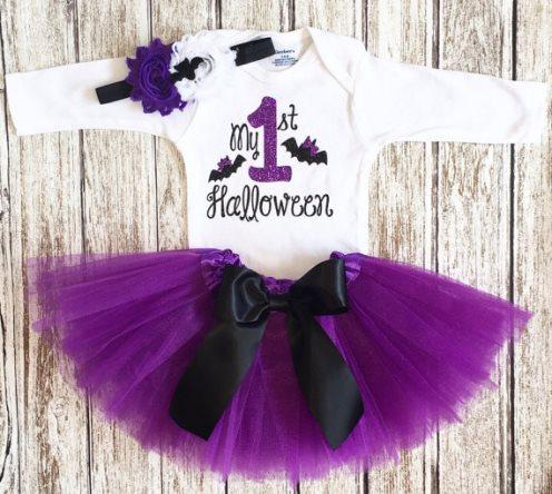 Bat Girl First Halloween Costume Tutu Outfit Set-My First Halloween Costume, First Halloween girl, Baby girl Costume, Bat baby outfit, newborn costume, purple black, purple tutu, bat bow, infant, baby, girl, boutique, outfit, newborn,  halloween, halloween costume