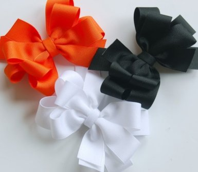 Classic Halloween Hair Bow Set-classic, black, orange, halloween, fall, set, white, fall, hair bow, hairbow