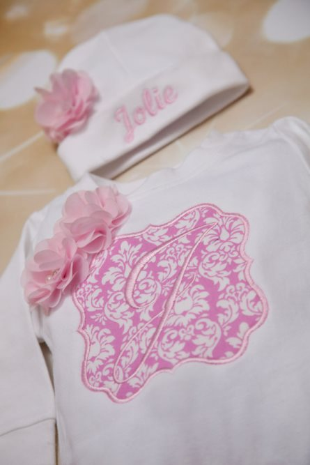 White & Pink Damask Personalized Romper & Hat Outfit Set-Personalized, Baby Girl, Romper Set, White, Embroidered, Infant Romper Set,  Matching Hat, newborn, hospital, going home outfit, coming home outfit, couture, pink