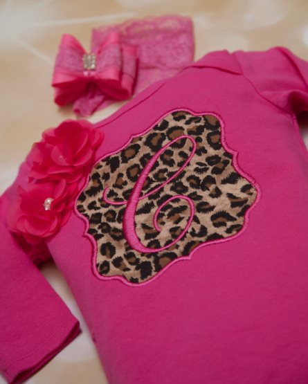 Hot Pink Leopard Personalized Infant Gown & Headband Set-Personalized, Baby, Girl, Gown, Set Hot Pink, Embroidered, Infant, Romper Set, Beautiful, Leopard, Lace Headband, take home, newborn gown, hospital gown, going home outfit
