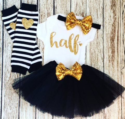 Baby Girls Black & Gold Glitter 1/2 Birthday Tutu Outfit Set-Baby Girl 1/2 Birthday Outfit, Cake Smash, Black Gold Tutu Set, Half Birthday, 6 Months photo shoot, 1/2 birthday girl, gold black, half birthday, 1/2 birthday