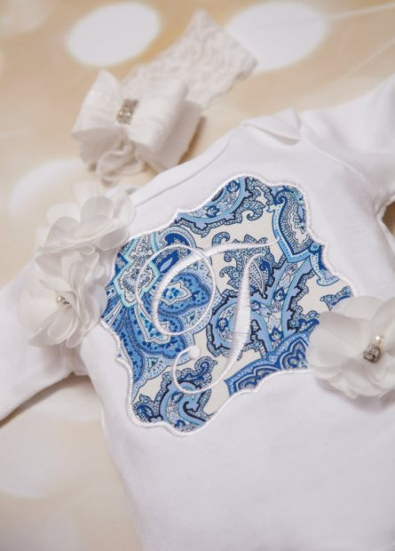 Blue & White Personalized Infant Onesie Romper & Headband Outfit Set-Baby Girl One Piece ,Set ,Personalized, Embroidered ,Girls Set, Infant One Piece Set , Lace Headband, newborn, infant, blue, initial, personalized